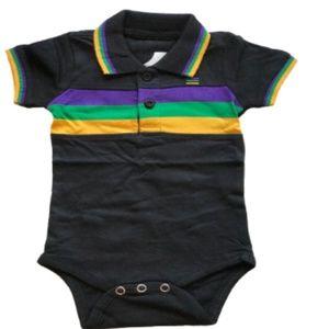 Mardi Gras Inf Bodysuit Black W/Purple/Green/Gold